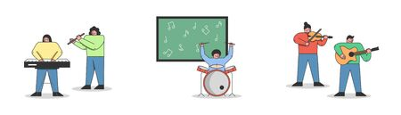 Musical Education Concept. People Are Learning To Play Different Musical Instruments. People Are Taking a Music Lesson in Orchestra At School. Set Of Cartoon Linear Outline Flat Vector Illustrations Illustration
