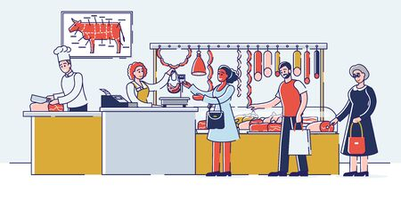 Butchery Shop Concept. People Are Choosing And Buying Meat And Meat Products. Sellers Offers Fresh Assortment Of Various Types of Products. Set Of Cartoon Linear Outline Flat Vector Illustration Vettoriali