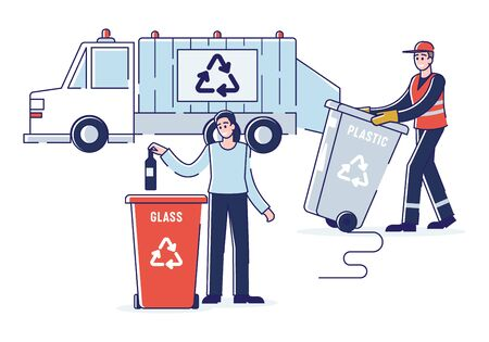 Recycling And Zero Waste Concept.Woman Is Sorting Garbage Throwing Bottle Into Recycle Bin. Refuse Collector Loading Waste Into Garbage Truck. Cartoon Outline Flat Vector Illustration Illustration