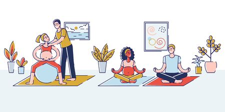 Concept Of Yoga For Pregnant, Sport Fitness Activities. Happy Couples Men and Women Waiting Baby Are Exercising In Gym. Husbands Help To Their Wives. Ilustrace