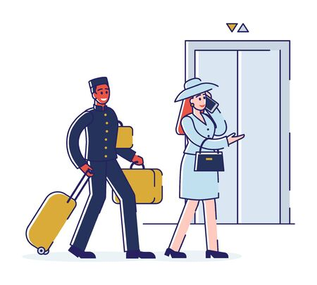 Hotel Service And Staff Concept. Porter is Escorting Business Woman To Apartments And Carrying Luggage.