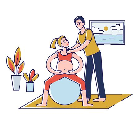 Concept Of Yoga For Pregnant, Sport Fitness Activities. Happy Couple Man and Pregnant Woman Are Visiting Parenting Classes, Exercising In The Gym. Cartoon Outline Linear Flat Vector Illustration