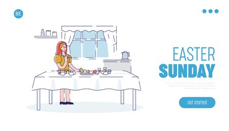 Happy Easter Concept. Website Landing Page. Woman Decorating Easter Eggs At Home. Happy Girl Is Preparing For the Holiday. Web Page Cartoon Outline Linear Flat Vector illustrations Ilustracja