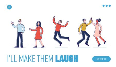 Human Positive Emotions And Happiness Concept. Website Landing Page.Group Of Happy People Are Expressing Positive Emotions Doing Hand Gestures.Web Page Cartoon Flat Outline Linear Vector Illustration