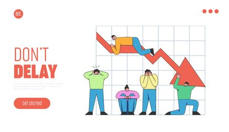 Business Achievement Concept. Website Landing Page.Stressed Business People Are Holnding The Chart, They Confused Because Of Sales Down. Web Page Cartoon Outline Linear Flat Vector Illustration