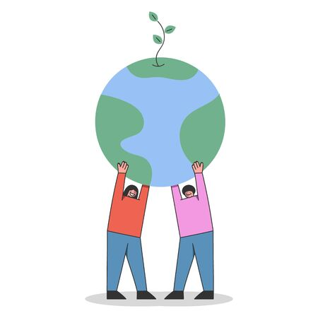 Concept Of Earth Day Environment protection. Male And Female Cartoon Characters Are Celebrating Earth Day. Man And Woman Hold Globe With Plant Above. Cartoon Linear Outline Flat Vector Illustration Ilustracja
