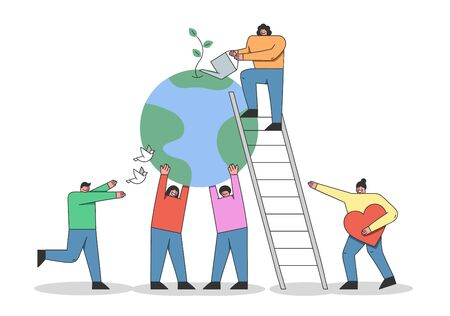 Concept Of Earth Day Environment protection. Cartoon Males And Females Characters Are Celebrating Earth Day. Men And Women Show Love To Nature. Cartoon Linear Outline Flat Vector Illustration Ilustracja
