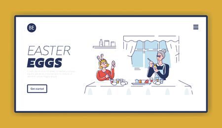 Happy Easter Concept. Website Landing Page. Happy Mother Decorating Easter Eggs With Daughter. The Process Of Preparing For the Holiday. Web Page Cartoon Outline Linear Flat Vector illustrations  イラスト・ベクター素材