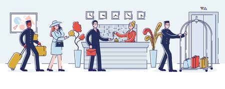 Hotel Service Concept. Visitors In The Queue. Receptionist Gives The Keys From Apartments To The Guest. Porters Help With Luggage.