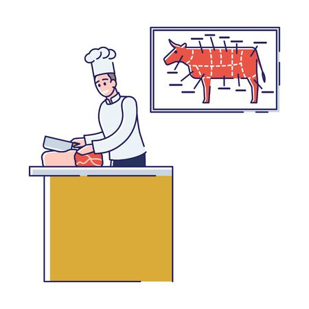 Butchery Shop Concept. Butcher In Uniform Is Cutting Beef Meat In Butchery Shop. Fresh Assortment Of Various Types of Meat With Beef Cuts Diagram. Cartoon Linear Outline Flat Vector Illustration
