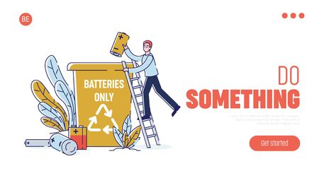Used Batteries Recycling, Cleaning Environment Concept. Website Landing Page. Man Collect Used Batteries And Throw It Into Garbage Container. Web Page Cartoon Linear Outline Flat Vector illustration