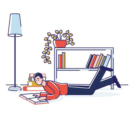 Concept Of Education, Read Books. Literature Fans or Lovers. Book Festival of Students. Male Character Is Reading Books On The Floor At Home. Cartoon Linear Outline Flat Style. Vector Illustration