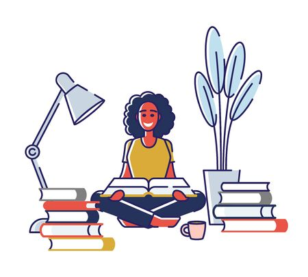 Concept Of Education, Read Books. Literature Fans or Lovers. Book Festival of Students. Female Character is Studying, Reading Books At Home. Cartoon Linear Outline Flat Style. Vector Illustration