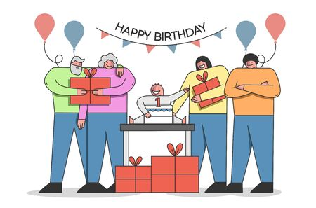 Anniversary Celebration Concept. Family Celebrate Babys First Birthday, Prepare and Give Him Gifts. Number One With On The Top Of Cake and Balloons. Cartoon Outline Linear Flat Vector Illustration