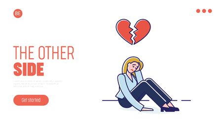 Concept Of Human Behavior and Negative Emotions. Website Landing Page. Woman Cry, Feel Broken, Because Of Conflict In Relationships. Web Page Cartoon Linear Outline Flat Style. Vector Illustration Ilustração