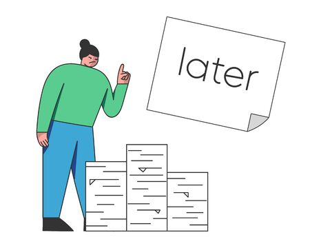 Concept of Deadline, Term and Time Waste. Procrastinating Woman Decides To Postpone the Paper Work For Later. Outline Linear Flat Vector Illustration
