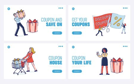 Concept Of Loyalty Program. Website Landing Page. Male And Female Characters Make Shopping for Holidays On Sale Using Discount Coupon. Set Of Web Pages Cartoon Outline Linear Vector Illustration Illustration