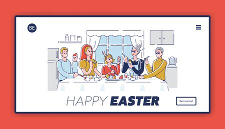 Happy Easter Concept. Website Landing Page. Happy Family Decorating Easter Eggs in Home Environment And Preparing For the Holiday. Web Page Cartoon Outline Linear Flat Vector illustrations  イラスト・ベクター素材