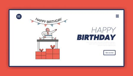 Birthday Celebration Concept. Website Landing Page. Child Celebrate His First Birthday With Big Cake, Gift Boxes On The Floor And Decorations. Web Page Cartoon Outline Linear Flat Vector Illustration