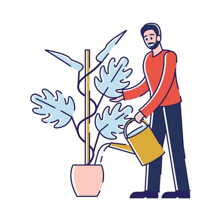 Young Man Watering and Planting Flower. Gardener or Florist Working in Botanical Garden or Home Backyard Terrace Orangery Care of Plant in Pot Enjoying Hobby Cartoon Flat Vector Illustration, Line Art