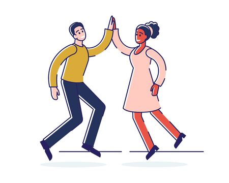 Human Positive Emotions And Happiness Concept. Happy Man And Woman Express Positive Emotions Jumping And Giving Five. They Are Happy And Satisfied. Cartoon Flat Outline Linear Vector Illustration