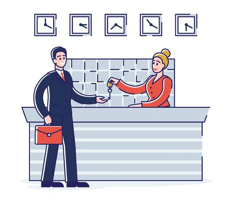 Hotel Service Concept. Businessman is Staying in the Hotel. Receptionist Woman Gives The Keys From Apartments To The Guest. Ilustración de vector