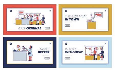 Butchery Shop Concept. Website Landing Page. People Are Choosing And Buying Meat And Meat Products. Sellers Offers a Fresh Assortment. Set Of Web Pages Cartoon Linear Outline Flat Vector Illustration