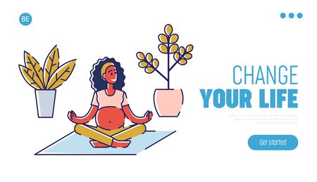 Concept Of Yoga For Pregnant, Healthy Lifestyle And Motherhood. Website Landing Page. Happy Pregnant Woman In Lotus Pose Do Yoga In The Gym.