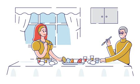 Happy Easter Concept. Happy Father Decorating Easter Eggs With Daughter At Home. People Are Spending Time Together, Preparing For the Holiday. Cartoon Outline Linear Flat Vector illustration