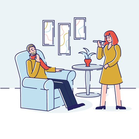 Health care and Common Cold Concept. Young Sick Man With Sore Throat And Influenza Symptoms. Woman Is Measuring The Temperature. Cartoon Outline Linear Flat Vector illustration