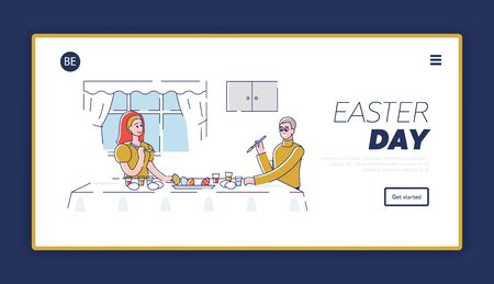 Happy Easter Concept. Website Landing Page. Happy Father Decorating Easter Eggs With Daughter. The Process Of Preparing For the Holiday. Web Page Cartoon Outline Linear Flat Vector illustrations