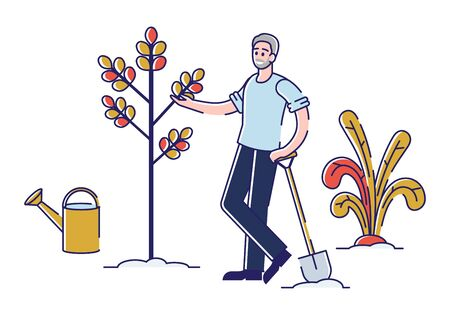 Professional Summer Gardening Concept. Man Is Working In the Field, Doing The Garden Job, Planting, Growing And Harvesting Apples By Garden Work Tools. Cartoon Linear Outline Flat Vector Illustration