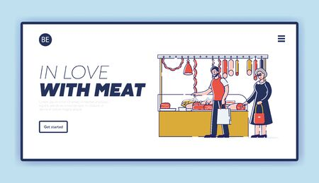 Butchery Shop Concept. Website Landing Page. Characters Are Choosing And Buying Meat Products. Fresh Assortment Of Various Types Of Products. Web Page Cartoon Linear Outline Flat Vector Illustration