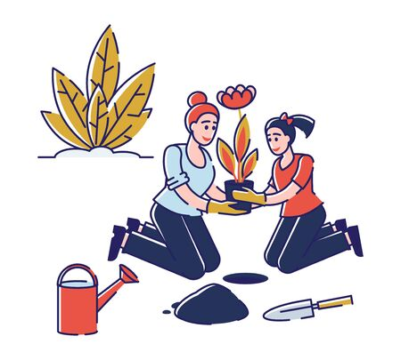 Gardening Concept. Women Characters are Working Together In The Garden, Planting, Watering And Taking Care Of Flowers. Girls Have A Good Time Together. Cartoon Linear Outline Flat Vector Illustration