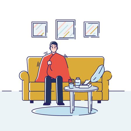 Health care and Common Cold Concept. Young Man Is Sitting At Home Wrapped In a Blanket With And Influenza Symptoms. Cartoon Outline Linear Flat Vector illustration