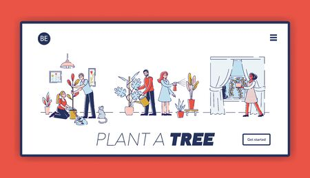 People Gardening at Home Website Landing Page. Happy Family Couple Homework with Plants, Caring of Flowers, Removing and Watering from Can Cartoon Flat Vector Illustration, Line Art Web Page Banner Illusztráció