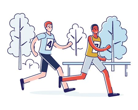 Concept Of Running Marathon And Healthy Lifestyle. Sportsmen Run Marathon. Healthy Running Marathon Athletes Sprinting. Fitness People Are Training. Cartoon Linear Outline Flat Vector Illustration Illustration