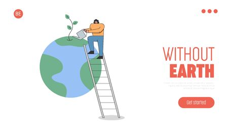 Concept Of Celebration Earth Day, Environment protection. Website Landing Page. Woman Is Watering Planet By Watering Can Standing On Ladder. Web Page Cartoon Linear Outline Flat Vector Illustration