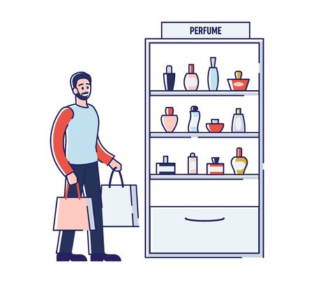 Beauty Shop Concept. Cartoon Male Character Is Buying Perfumes On Gift For Girlfriend Or Wife In Perfume Division. Perfumes, Eco products In Store. Cartoon Outline Linear Flat Vector Illustration