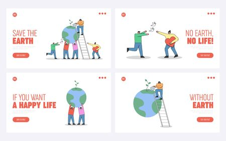 Concept Of Celebration Of World Earth Day. Website Landing Page. Characters Celebrate Earth Day. People Show Care And Love To Planet. Set Of Web Pages Cartoon Linear Outline Flat Vector Illustration