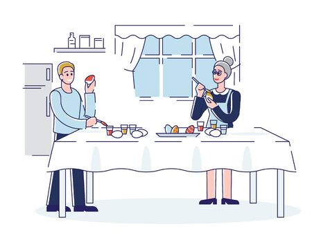 Happy Easter Concept. Mother And Son Decorating Easter Eggs At Home. People Are Spending Time Together And Preparing For the Holiday. Cartoon Outline Linear Flat Vector illustration