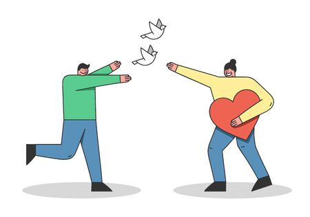 Concept Of Earth Day Environment protection. Male And Female Cartoon Characters Are Celebrating Earth Day. Man And Woman Release The Pigeon. Cartoon Linear Outline Flat Style. Vector Illustration