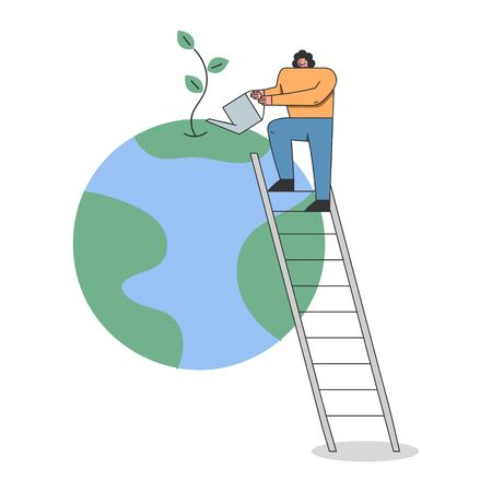Concept Of Celebration Earth Day Environment protection. Girl Is Celebrating Earth Day. Woman Is Watering Planet By Watering Can Standing On Ladder. Cartoon Linear Outline Flat Vector Illustration