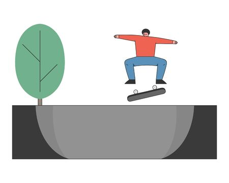 Concept Of Skateboard Ride, Sports Activity. Teenager Skateboarder Is Riding Skateboard. Skateboarding Boy is Making Stunts on Board in The Skatepark. Cartoon Outline Linear Flat Vector Illustration