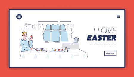 Happy Easter Concept. Website Landing Page. Happy Boy Decorating Easter Eggs At Home. Process Of Preparing For the Holiday. Cartoon Outline Linear Flat Vector illustration