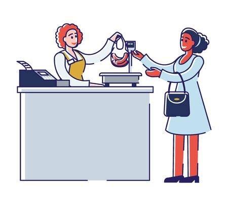 Butchery Shop Concept. Female Character is Buying Meat Products, Standing At The Register In Butchery Shop. Shop Assistant Weight And Sale Products. Cartoon Linear Outline Flat Vector Illustration
