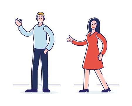 Human Positive Emotions And Happiness Concept. Man And Woman Express Positive Emotions Showing Ok And Thumb Up Signs. They Are Happy And Satisfied. Cartoon Flat Outline Linear Vector Illustration