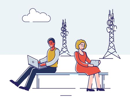 5G Technology Concept. Man And Woman Are Using High Speed Internet Technology for Communication and Gadgets. People Use 5G Wireless Internet Technology.
