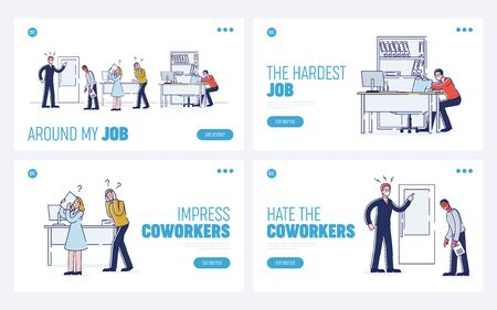 Concept Of Stressed Office Situations, Work And Staff. Website Landing Page. Furious Angry Boss Is Shouting At Employees In Office. Set Of Web Pages Cartoon Linear Outline Flat Vector Illustrations