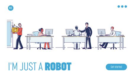 Concept Of Collaboration Of Human And Robot. Website Landing Page. Employer is Replacing The Employees With Bot Or Artificial Intelligence. Web Page Cartoon Linear Outline Flat Vector Illustration
